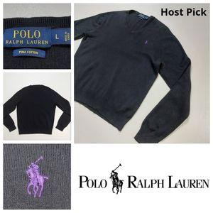 2/55 Polo Ralph Lauren V-neck Pima Cotton Blue LBL